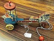 Repro. Pull-toy Mechan-horse Movement Pulling Merry-go Round Indian/santa