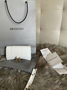 Balenciaga Hourglass Small White Croc💕 Leather Tote,, New Sold Out Item