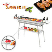 Portable Charcoal Barbecue Grill Bbq Camping Stainless Steel Outdoor Party Fire