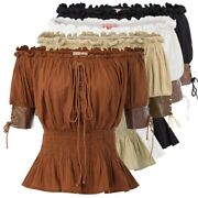 Bp Womens Lace Up Tops Ruffle Gothic Victorian Steampunk Off Shoulder Corset Top