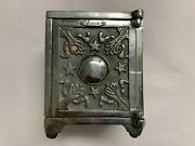 Very Nice Antique Four Star Safe Cast Iron Safe Coin Bank Nickel Plate 1895-1905