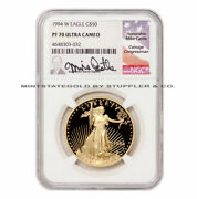 1994-w 50 Proof Gold Eagle Ngc Pf70ucam Graded Castle Signature Label Coin