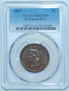 1857 Pcgs Ms63bn N-2 Small Date Braided Hair Large Cent