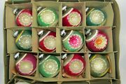 Lot Vtg Mercury Glass Double Indent Large Ball Christmas Ornaments Shiny Brite