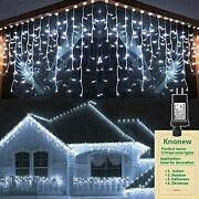 Christmas Decorations Ice String Lights Outdoor 1216 Led 99ft 8 Modes Curtain...