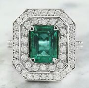 925 Sterling Silver Natural Green Emerald And White Sapphire Wedding Ring For Her