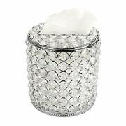 Sumnacon Cylindrical Clear Glass Tissue Box Cover - Decorative Crystal Toliet...