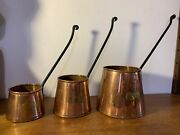 Set Of 3 Antique Copper Cider Measuring Jugs Cups With Iron Handles