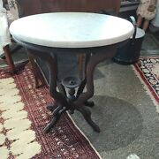 Antique Victorian Walnut Parlor Table Oval Marble Top 24x18x 27 Pick Up Only