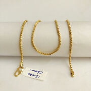 18 Kt Hallmark Real Solid Yellow Gold Rope Necklace Chain 15.060 Gm Wide 2.19 Mm