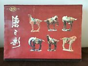 Chinese Tri Colored Glazed Ceramic Horse Figurines Of Tang Dynasty Original Box