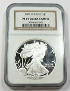 2002-w Ngc Pf69 Ultra Cameo Proof Silver American Eagle Dollar 1 Us Coin 28858a