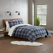 Ugg Avery 3-piece Reversible King Comforter Set In Pacific Blue Plaid