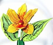 Scarce Beautiful Briening Brothers Booming Orchid Flower Art Glass Paperweight