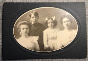 Antique Edwardian Cabinet Card Photograph Fashionable Angry Girls