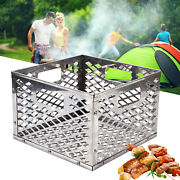 Portable Square Drum Smoker Stainless Steel Anti-rust Barbecue Charcoal Basket