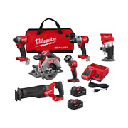 M18 Fuel Power Tools, Brushless Cordless, 5 Pc Combo, Compact Router, Milwauke