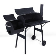 Charcoal Grill Barbecue Grill With Offset Smoker/wheels/temperature Gauge