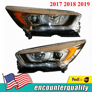 Fits For Ford 2017-2019 Escape Chrome Halogen Headlights Set Lamps Lhandrh Pair