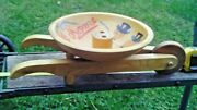 Vintage Wood Woodcroftery Nut Dish Bowl With Great Graphics Wheelbarrow Cart