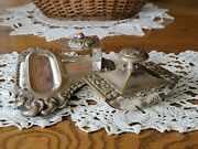 1919 Antique Danish Marked Eneret Silver Plate Inkwell Stand And Blotter Desk Set