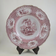 Olympia Red By Podmore Walker C1834 Red Staffordshire Transferware Lrg Rim Bowl