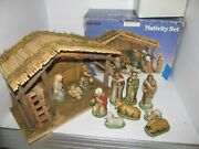 Vintage Sears Nativity Set 97890 Wooden Stable W/11 Porcelain Figures In Box