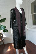 Antique 1910and039s Black And Purple Crochet Fringe Tunic Dress With Leaf Design