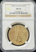 2008 W Burnished American Eagle 50 Gold Coin Ngc Ms 70