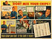 Original Vintage Wwii Navy Poster Donand039t Mix Your Chips Comic Style C1942
