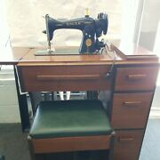 1950 Singer 15-91 Sewing Machine In Original Cabinet And Bench - Sews Well