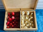 Vintage Bone Weighted Chess 31 Set Pieces With Storage Box