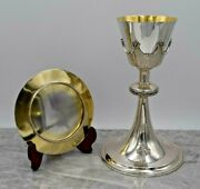+ Antique Traditional All Sterling Silver Chalice And Paten Set + Ahb51