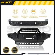 Bulkier Black Front Rear Bumper Guard W/ Led Winch Plate For Toyota Tacoma 05-15