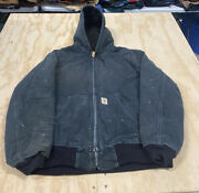 Vintage Work Jacket Hooded Size Xl Menandrsquos Distressed Canvas Duck