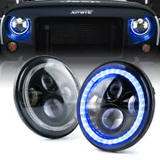 Xprite 7 90w Led Round Headlights W/ Blue Halo Drl For 97-18 Jeep Wrangler Jk