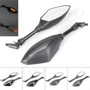 Led Turn Signal Rearview Side Mirrors Universal Fit 8mm / 10mm Bolt Motorcycle