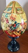 Russian Christmas Santa's Workshop Wooden Lacqured Egg With Stand Signed 8
