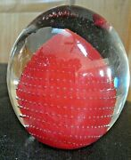 Vtg Clear And Orange Art Glass Paperweight Controlled Bubble Bolle Bullicante