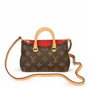 Louis Vuitton Cherry Calfskin Leather Brown Monogram Coated Canvas And...