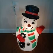 Vintage Tpi Merry Snowman Blow Mold 22 Mittens Scarf Shovel Top Hat Christmas