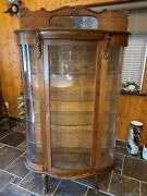 Antique Oak Wood Curved Glass China Cabinet Curio Plates Display Case Key