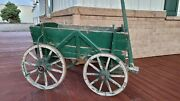 Rare Primitive Antique Wooden Goat Cart Wagon With Working Wheels Vintage