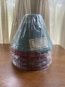 Lot Of 5 Vintage Oil Lamp Shades Hurricane Chimney Fitter Plaid Fabric 4x12x9