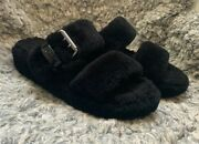 Uggs Fuzzy Slides/slippers Black/ Buckle Size 7 Lamb Fur