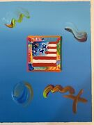 Peter Max Original Mixed Media Acrylic Hand Signed With Serial Numbers From Coa