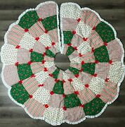 Vintage Farmhouse Christmas Tree Skirt Quilt Yarn Pull Red Green Ruffle Lace Vtg