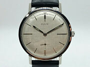 Elgin Manual Wind Linen Dial Stainless Vintage Mens Watch Serviced 1960s 17j
