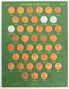 1940 - 1953 Choice Mint State Red Lincoln Cents 42 Coins + Wwii Steel Cents