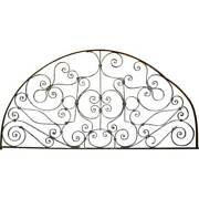 Antique French Colonial Wrought Iron Arched Transom 19th Century
